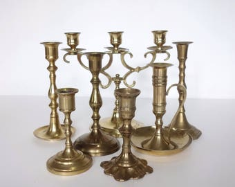 RESERVED Solid Brass Candle Sticks, Mixed Lot 7, Assorted Vintage Brass Candle Holders, Wedding Decor