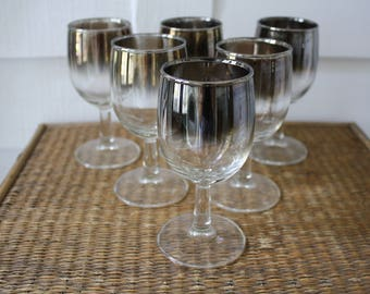 Vintage wine glasses silver ombre, silver ombre wine glasses, set of six, mid century bar ware, vintage French bar ware