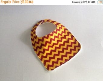 ON SALE Yellow and Red Chevron bibs,  Terry cloth backed baby bib, Harry Potter Baby bib, Maroon and yellow chevron baby bib, Absorbent baby