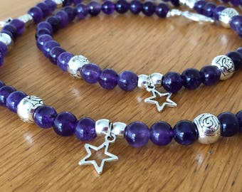Amethyst long necklace with silver beads and stars/amethystnecklace/necklacewithstars/perfectgift/fashionnacklace