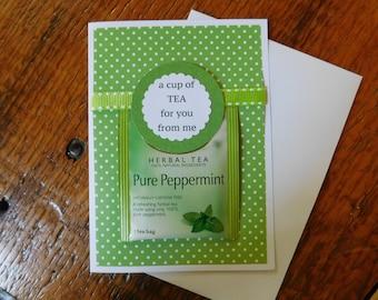 Friendship card -  Thinking of you card - tea card - friend card - birthday card - blank card - tea Greeting card w/ tea bag