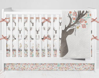 Crib Bedding Deer Antlers Fawn Girl Floral Woodland Custom Made Fabrics