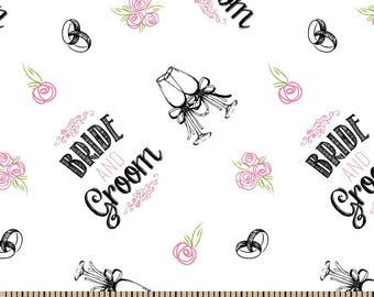 Snuggle Flannel Fabric - Bride and Groom Toss - 29 inches