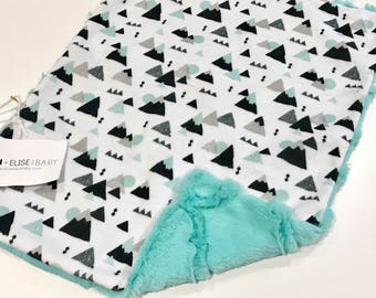 Mountains Baby Boy MINKY Lovey Blanket, MINI Minky Baby Blanket, Taggie Blanket, Baby Bedding, Baby Lovey Blanket, Gender Neutral Baby Gift