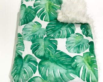 Monstera Leaf Baby Blanket. Baby Minky Blanket, Baby Shower Gift, Faux Fur Baby Blanket, Ready to Ship Baby Blanket, Greenery Blanket