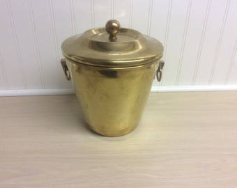 Vintage Hollywood Regency Solid Brass Ice Bucket