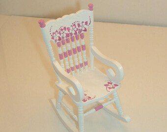 SPECIAL SALE TROPICAL Flowers Hot Pink and White Rocking Chair 1:12 Dollhouse Miniature Furniture Hand-Painted