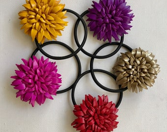 DAHLIA  Leather Flower hair ties and ponytail holder