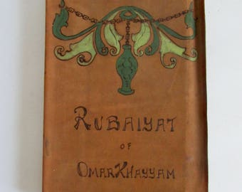 Rubaiyat of Omar Khayyam Fifth Edition Hand Painted Suede Cover Translated Edward Fitzgerald Publisher Hurst & Co