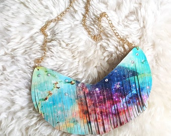 Stardust - Galaxy Necklace, Fringe Necklace, Festival Jewelry,  Stars Necklace, Coachella, Leather Fringe, Trendy Necklace, Bohemian, Boho