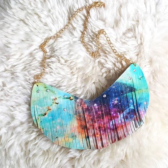 Stardust - Galaxy Necklace, Fringe Necklace, Festival Jewelry,  Stars Necklace, Coachella, Leather Fringe, Trendy Necklace, Bohemian, Boho