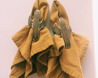 Set of 4 Vintage Brass Cactus Napkin Rings, Cactus, Brass, Dinner Party