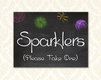 Wedding Sparkler Sign, Printable Sparkler Send Off Sign, Sparklers Please Take One, Chalk Color Wedding Exit Signage, 8x10 and 5x7, Digital