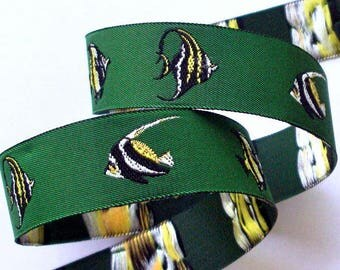 """Fish  Woven Jacquard Ribbon 7/8"""" x 2 5/8 yds -Olive, Black, White and Yellow - 1 available"""
