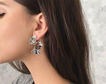 Dainty simple everyday curved bar earrings - statement earrings