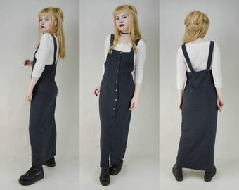 90s Grunge Grey Pinstripe Button Through Overalls Maxi Dress S