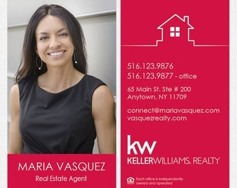 Keller Williams real estate DELUXE business cards - thick, color both sides - FREE UPS ground shipping