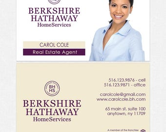 Berkshire Hathaway real estate business cards - thick, color both sides - FREE UPS ground shipping
