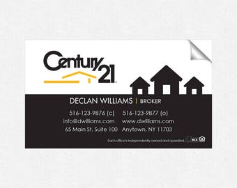 Century 21 real estate deluxe glossy stickers - business card size - high end - crack and peel - FREE UPS ground shipping