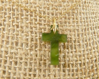 Vintage Jade Glass Cross Crusifix Gold Chain