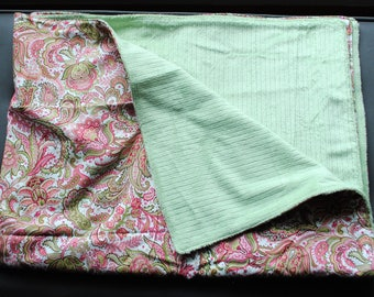 SALE 25% off- pink and green paisley print cotton fabric blanket with soft sage minky backing