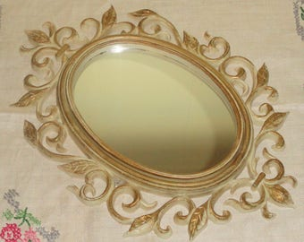 Gold & Off White Ornate Open Work Scroll Style Small Decorative Wall Mirror