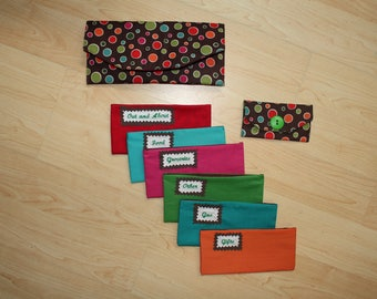 Fabric Cash Envelope system with EMBROIDERED LABELS - multi colored polka dots