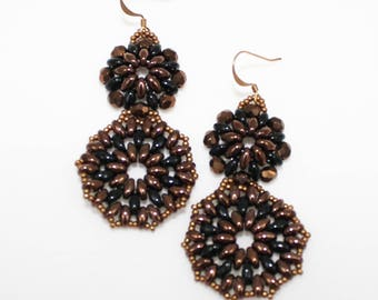 Earrings black and bronze