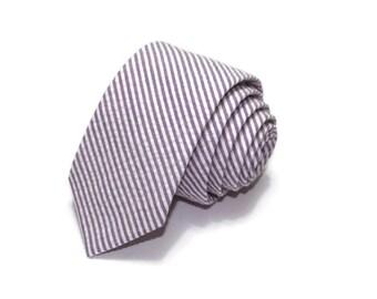 Purple Stripe Seersucker Necktie~Cotton Necktie~Anniversary Gift~Wedding Tie~Mens Gift~Cotton Tie~Mens Tie~Purple Tie
