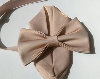 Rose Gold dusky pink  bow tie with pocket square set, adult and kid size