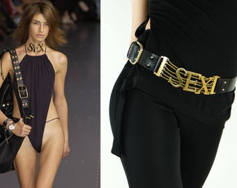 DOLCE & GABBANA Vintage SEX Belt Large Gold Letters Black Leather Iconic Belt