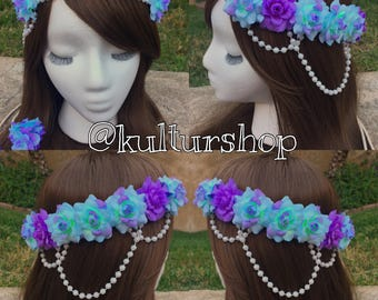 Ready to Ship Seafoam Mermaid goddess flower crown headband with lavender