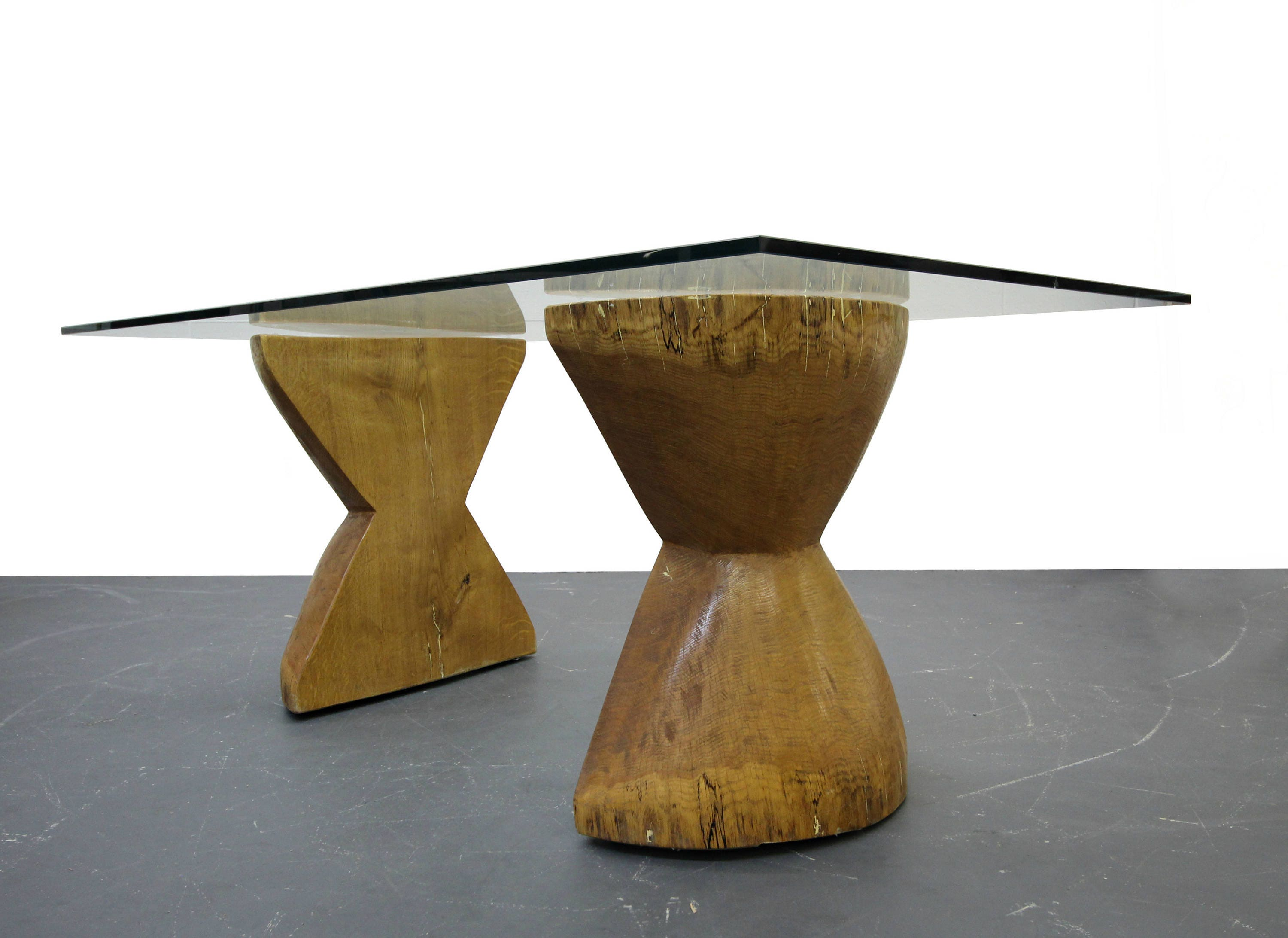 Pair of Raw Live Edge Wood Hourglass Dining Table Pedestals