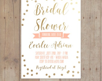 Gold Confetti Mint Peach Bridal Shower Baby Invitation Bridal Shower Printable Invitation Card