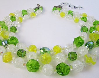 1950's Hattie Carnegie Three Strand Art Glass Necklace Green Yellow White Beads Givre Crackle AB Choker Adjustable Happy Sunny Colors