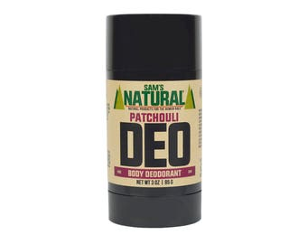 Sam's Natural - Patchouli Natural Deodorant for Men - Gifts for Men - Natural, Vegan + Cruelty-Free