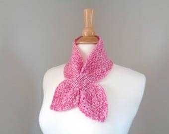 Cashmere Ascot Scarf, Pink Marl, Pull Through Keyhole, Bow Scarf, Hand Knit Neck Warmer