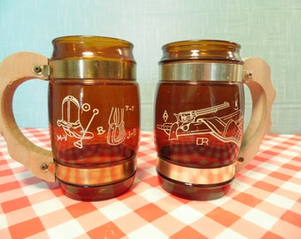 Vintage Siesta Ware Western Glass Mugs - Set Of 2 - 12 oz  - Barrel Shape - Cowboy - Western Gun