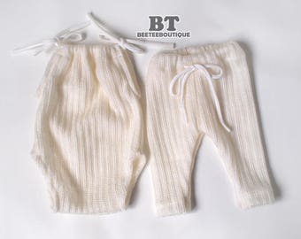 Boy and Girl Twin Props - Romper & Pant - Ivory Wool Blend Stretchy - Newborn Photography Props