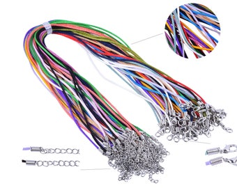 50pcs Mix-colors 2mm Satin Silk Necklace Cord with Clasp Lobster 18'' adjustable length