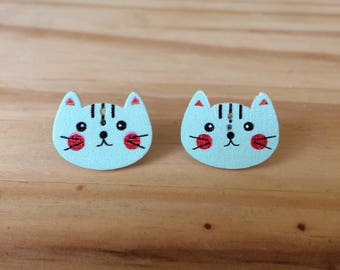 Stud Earrings, Cat Earrings, Cat Stud Earrings, Blue Cat Earrings, Cat Button Earrings, Button Earrings