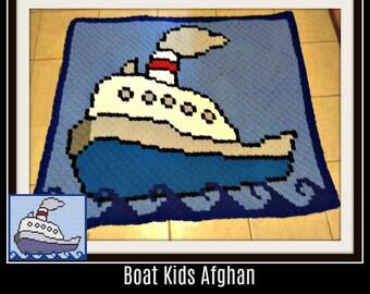 Boat Children's Afghan, Crochet Pattern, C2C Graph, Written Word Chart