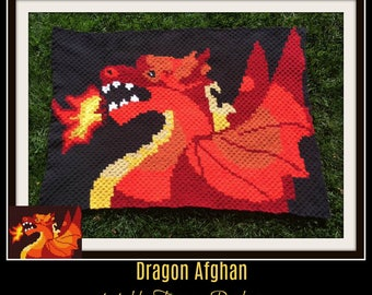 Dragon Afghan, C2C Crochet, Graph, & Written Word Chart