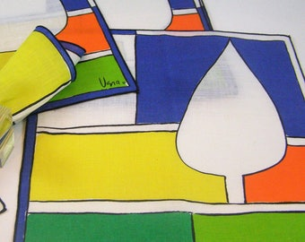 Five Vera Neumann Napkins. Brilliant Colorful Abstract Tree Scene in Yellow, Orange, Blue, Green and White.