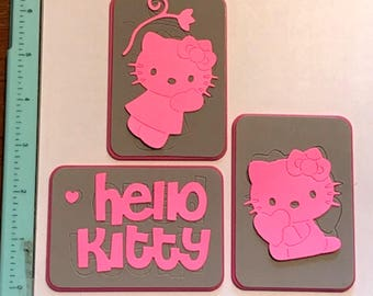 Sizzix HELLO KITTY Lot of 3 Medium Sizzlits (Rare) - Cleaned and Tested