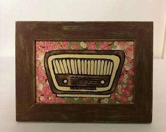 Vintage Brown Radio Framed Collage