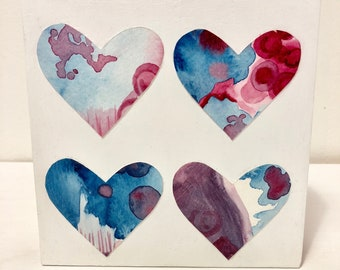 Four Hearts in Blue and Purple