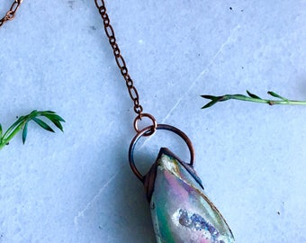Angel Aura Fossilized Snail Lariat Style Necklace