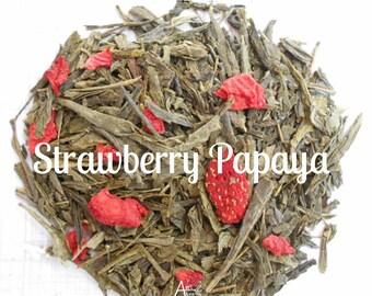 Organic Strawberry Green Tea, Loose Leaf, STRAWBERRY PAPAYA, Fruit Tea, Iced, Vegan, Tea Gift, Healthy, Hand Blended, Tea Lover Gift