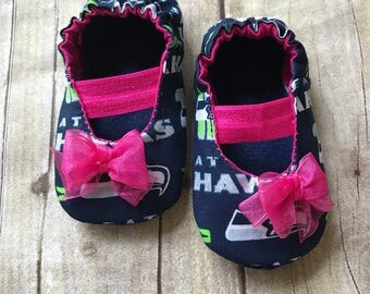 Seattle Seahawks Inspired  Pink Baby Mary Jane Shoes